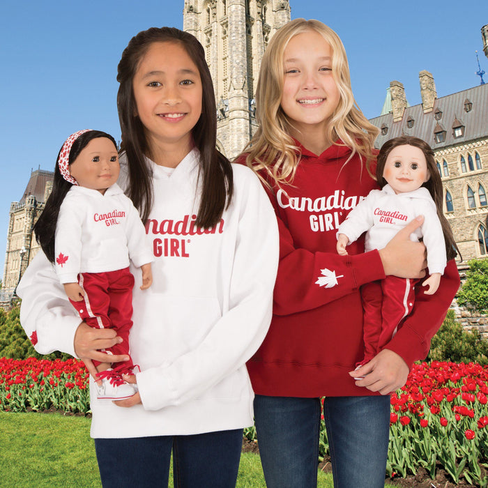 Red Canadian Girl hoody in varying sizes for girls.