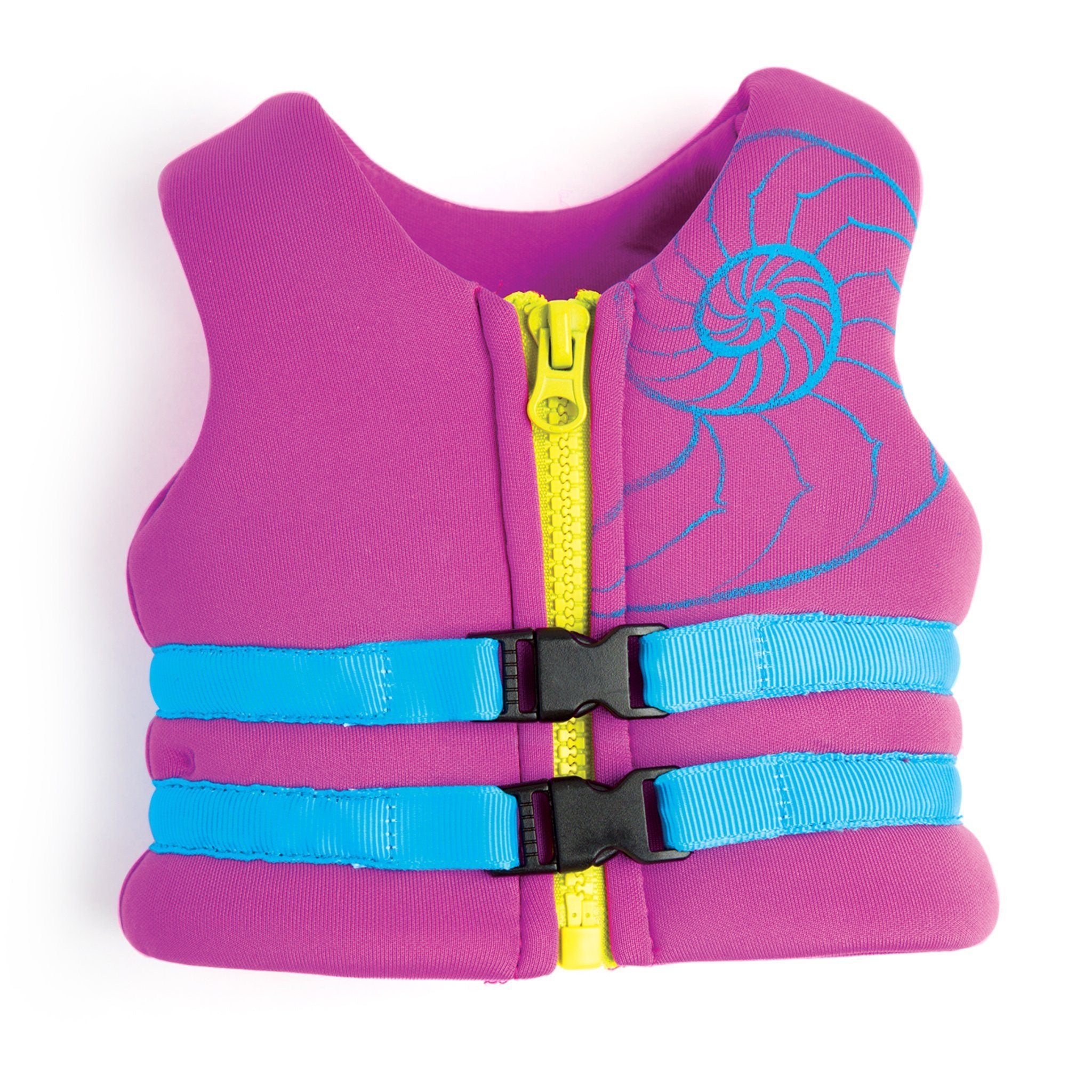 Ride the Tide purple PFD lifejacket with blue buckle and seashell graphic fits all 18 inch dolls