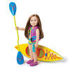 Purple PFD lifejacket with blue buckles, with matching water shoes shown with 18 inch doll and kayak