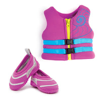 Purple PFD (lifejacket) with blue buckles, with matching water shoes fits all 18 inch dolls