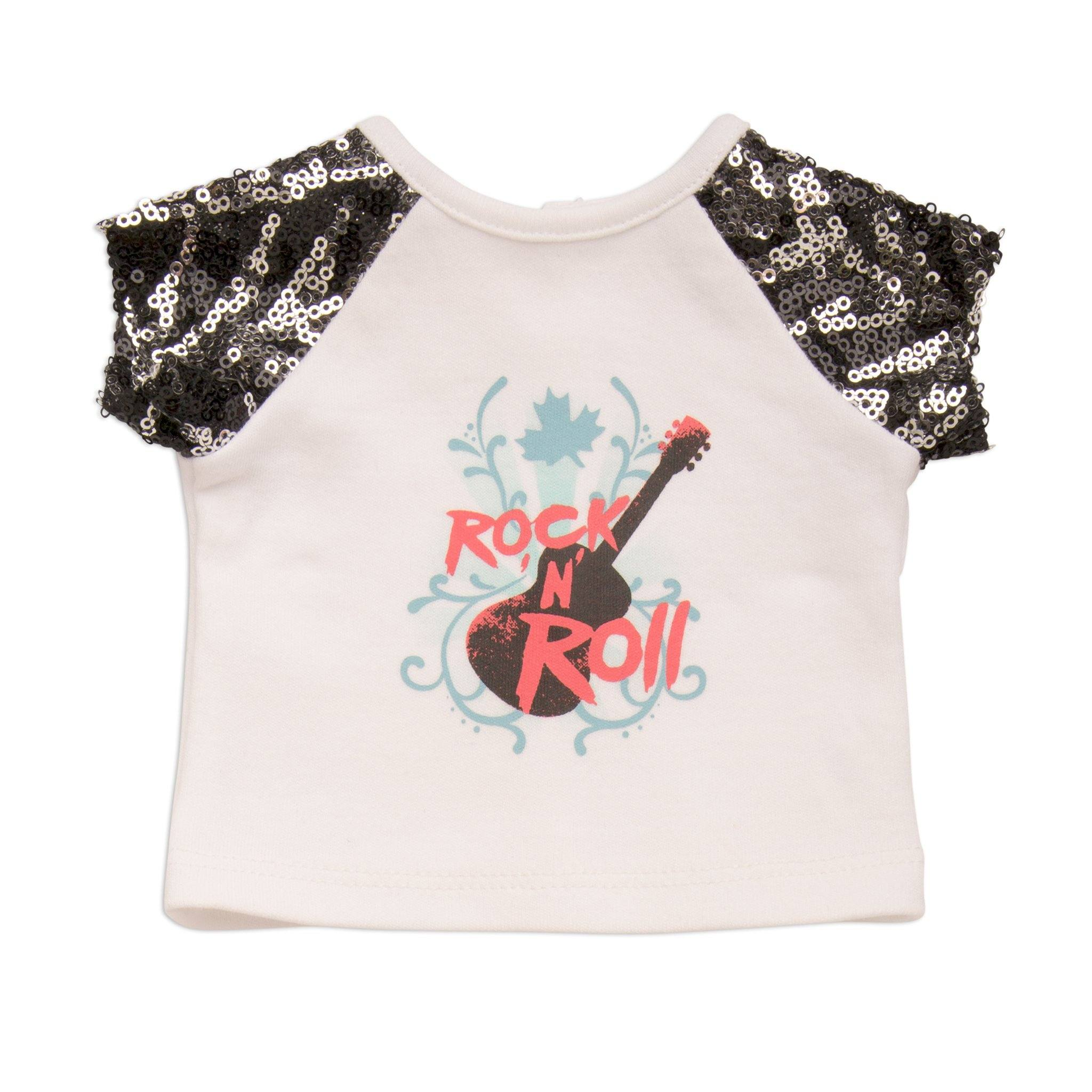 white rock n' roll graphic t-shirt with sequin sleeves, and button wrist band fits all 18 inch dolls.
