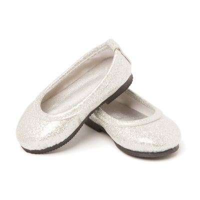 Royal Fair silver sparkly ballet flats fits all 18 inch dolls