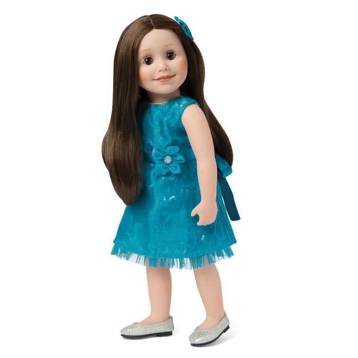 Royal Fair teal sparkly lace and organza dress with silver sparkly ballet flats fits all 18 inch dolls