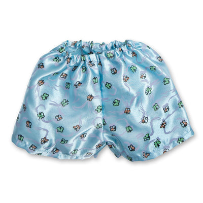 Satin Siesta PJs butterfly print light blue satin boxers fits all 18 inch dolls.