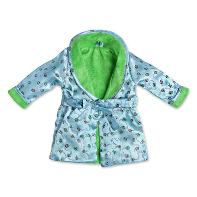 Satin Siesta PJs butterfly print light blue satin robe with plush green lining fits all 18 inch dolls.