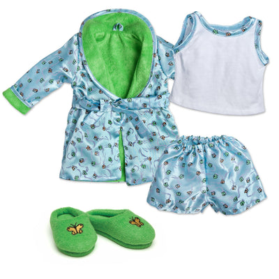 Satin Siesta butterfly print satin boxers, white tank top with satin trim, satin butterfly satin print robe with green lining, and fuzzy green slippers with butterfly embroidery fits all 18 inch dolls.