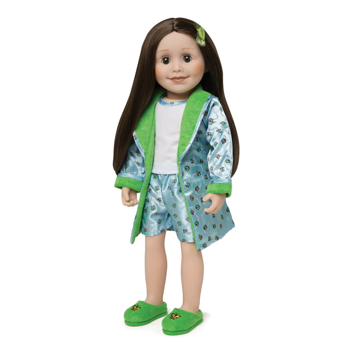 Satin Siesta butterfly print PJs light blue satin boxers, white tank top with satin trim, satin butterfly satin print robe with green lining, and fuzzy green slippers with butterfly embroidery fits all 18 inch dolls.
