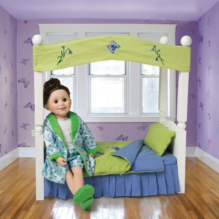 Satin Siesta butterfly print PJs light blue satin boxers, white tank top with satin trim, satin butterfly satin print robe with green lining, and fuzzy green slippers with flower embroidery fits all 18 inch dolls.