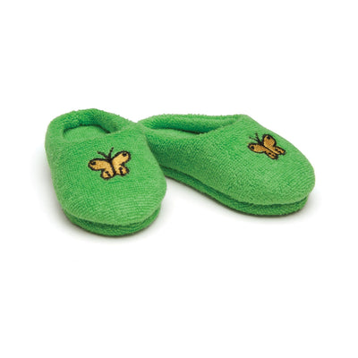 Satin Siesta green fuzzy slippers with yellow butterfly embroidery fits all 18 inch dolls.