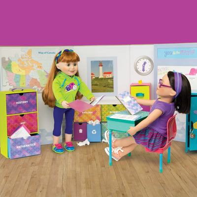 School set shown with 18 inch dolls and desk