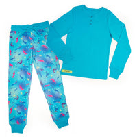 Sea Otter Sleepwear 2-piece blue pyjamas long-sleeved blue top with button henley, colourful sea otter print PJ pants in varying sizes for girls.