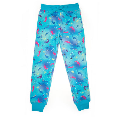 Sea Otter Sleepwear colourful sea otter print PJ pants in varying sizes for girls.