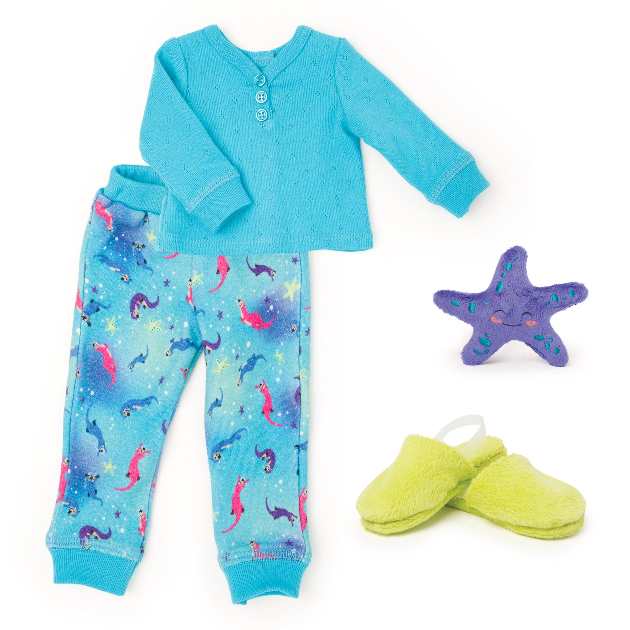 Sea Otter Sleepwear 2-piece pyjamas long-sleeve blue henley, sea otter print blue PJ pants, bright green fuzzy slippers and a plush purple sea star fit all 18 inch dolls.