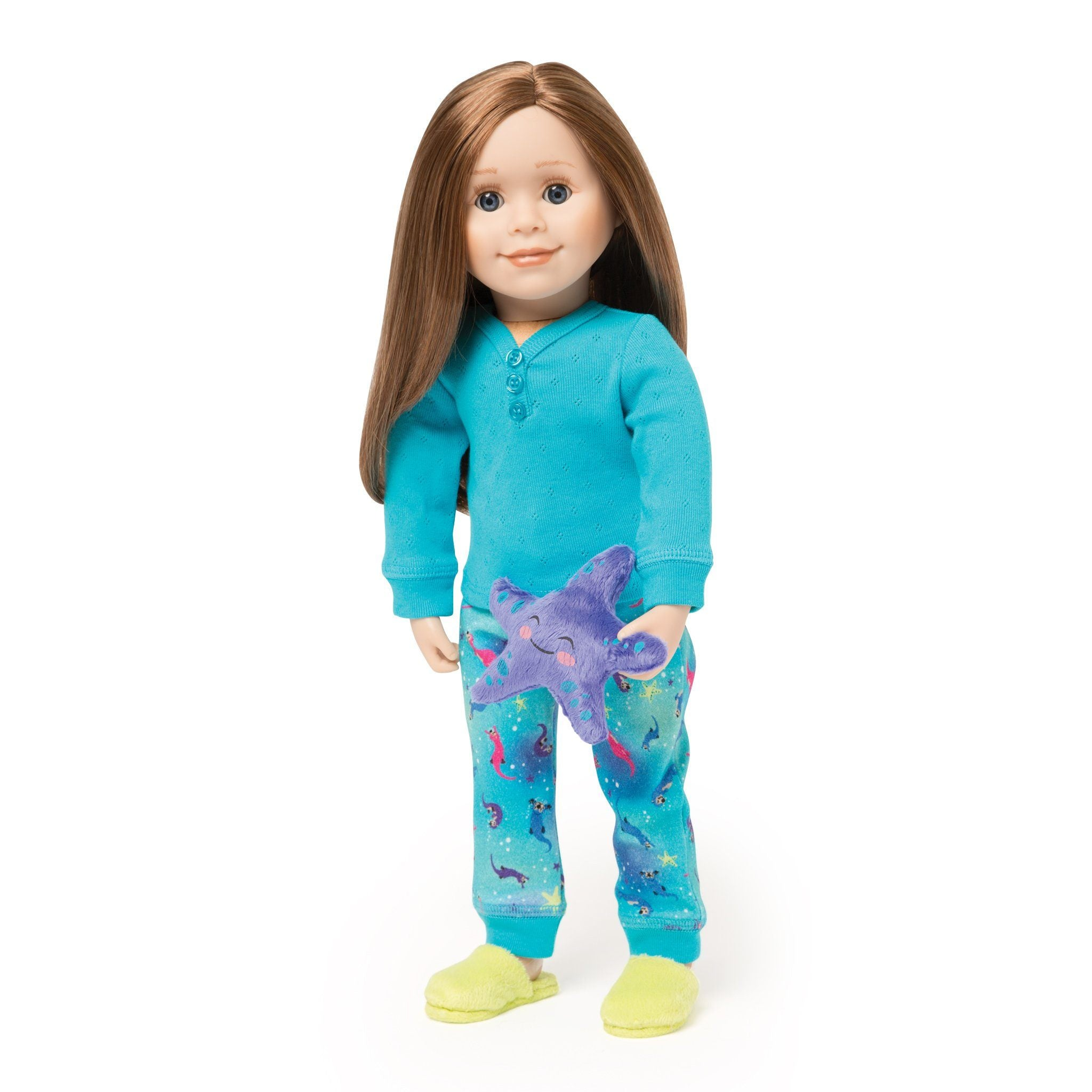Sea Otter Sleepwear 2-piece pyjamas with long-sleeve blue henley, sea otter patterned blue PJ pants, bright green fuzzy slippers and a plush purple sea star fit all 18 inch dolls.