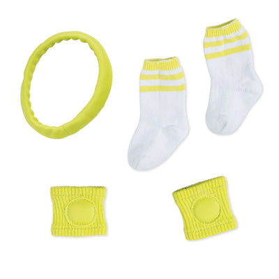 serve, set, spike bright green headband, knee pads, white striped sockss fit all 18 inch dolls.