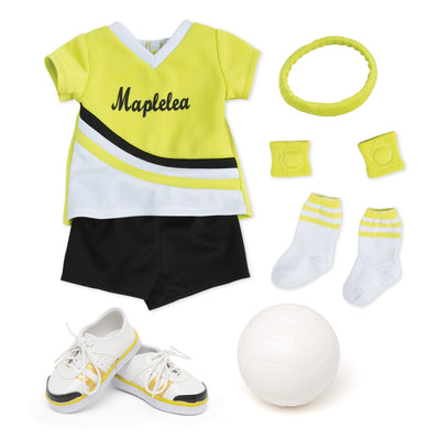serve, set, spike bright green, white and black jersey, black shorts, volleyball, headband, knee pads, socks and running shoes fit all 18 inch dolls.