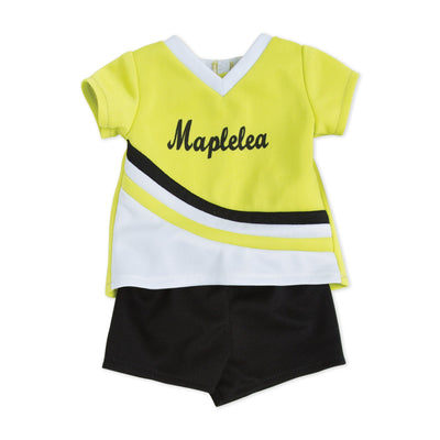 serve, set, spike bright green, white and black jersey, black shorts fit all 18 inch dolls.