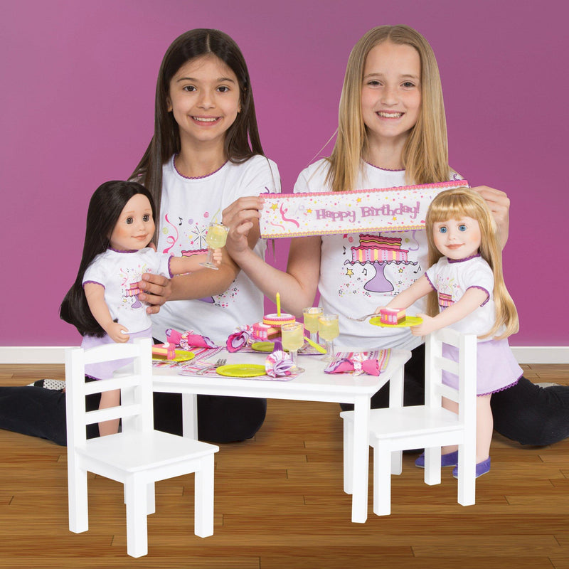 Set to Celebrate, 4 of each: pink and purple patterned placemats, napkins, napkin rings, bright green plates, real metal forks, and real-looking lemonade drinks. 1 celebration cake with 6 slices and a cake top with candle, metal cake server, cake stand and bilingual birthday banner for all 18 inch dolls.