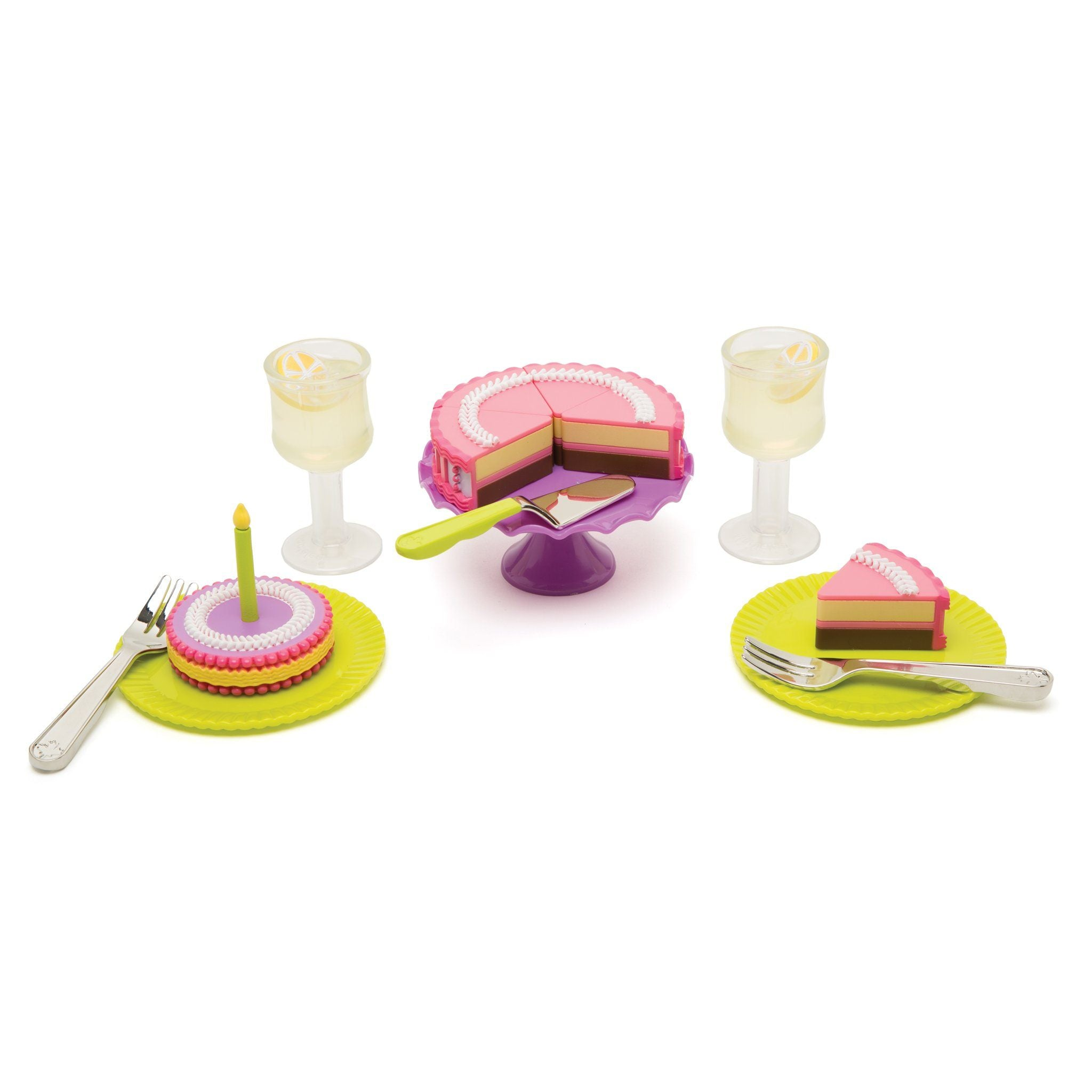 Set to Celebrate plastic and metal pieces: Cake with removable slices, cake stand, plates, metal forks, lemonade drinks for all 18 inch dolls.