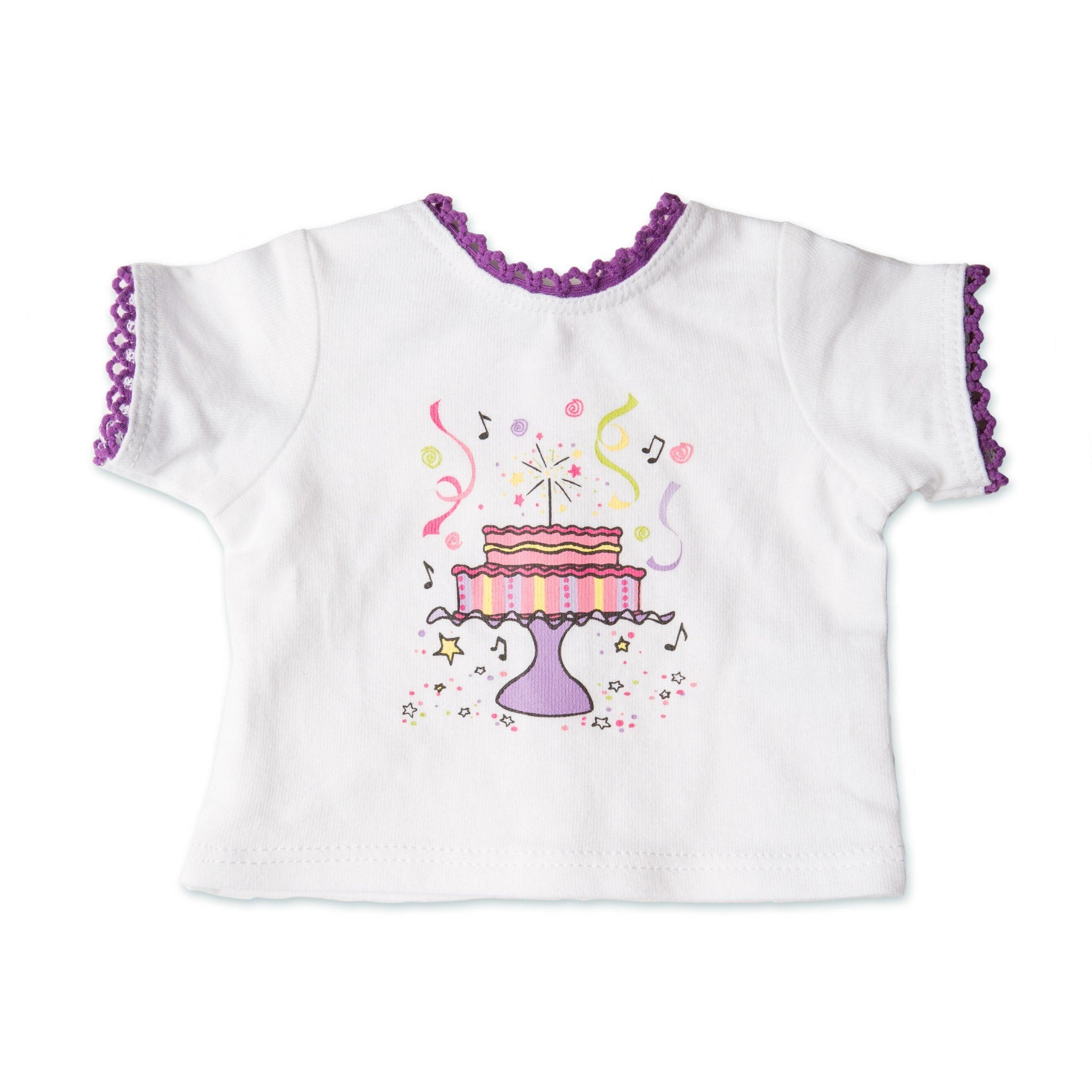 Set to Celebrate white t-shirt with purple lace trim and festive cake screen printed graphic 18 inch dolls.