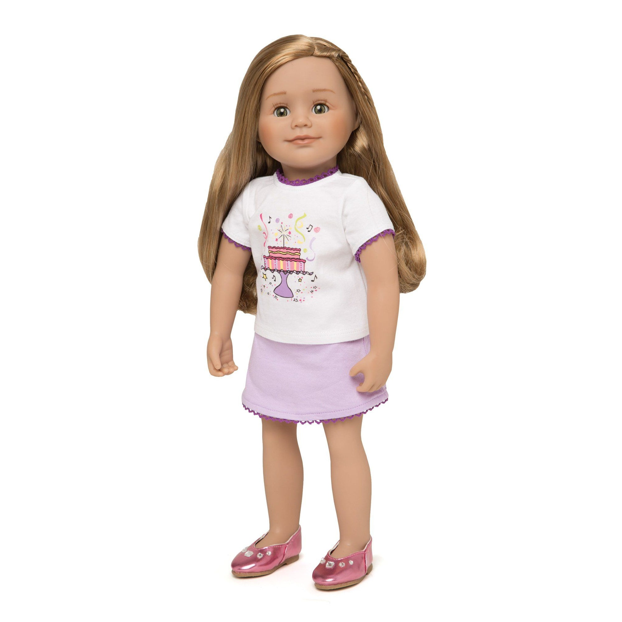 Set to Celebrate white t-shirt with purple lace trim and festive cake graphic, with light purple skirt fits all 18 inch dolls.