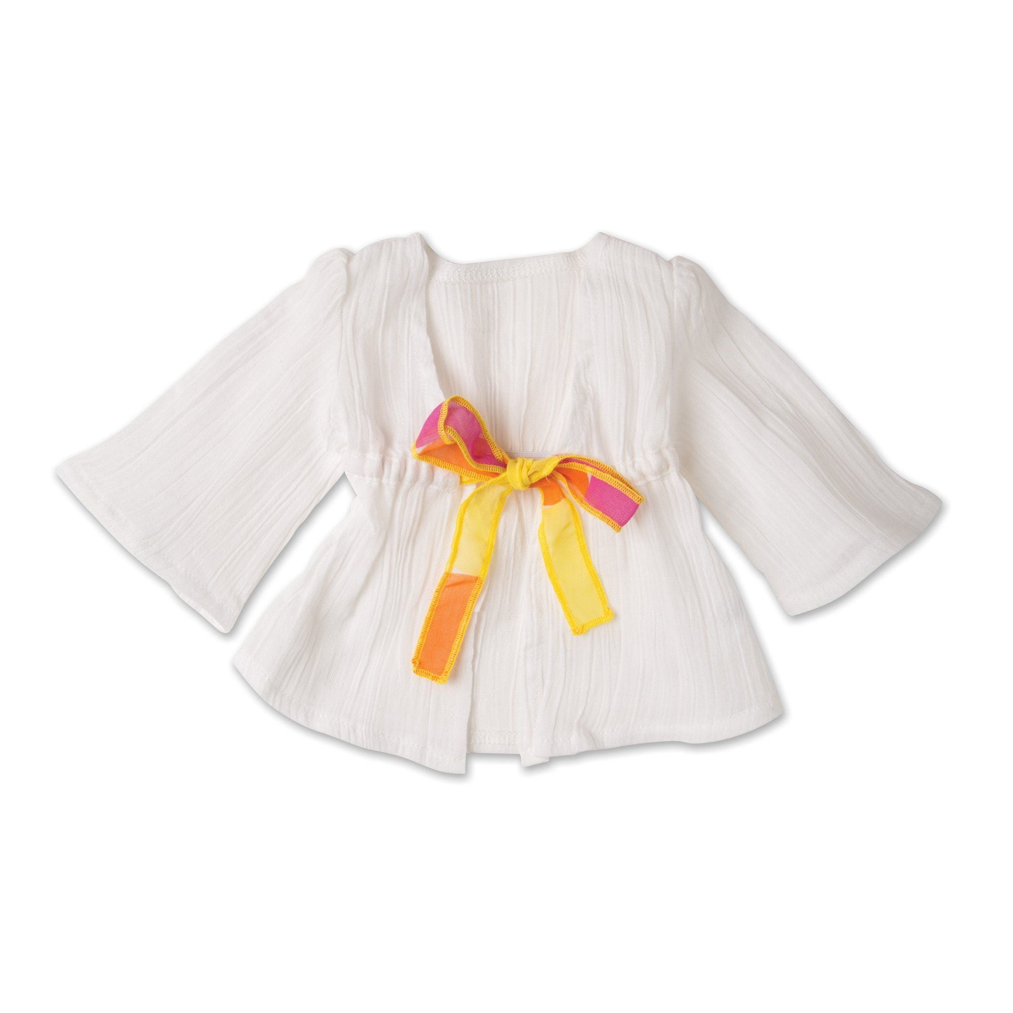 Shoreline Sun white cotton beach cover-up with polka dot tie fits all 18 inch dolls.