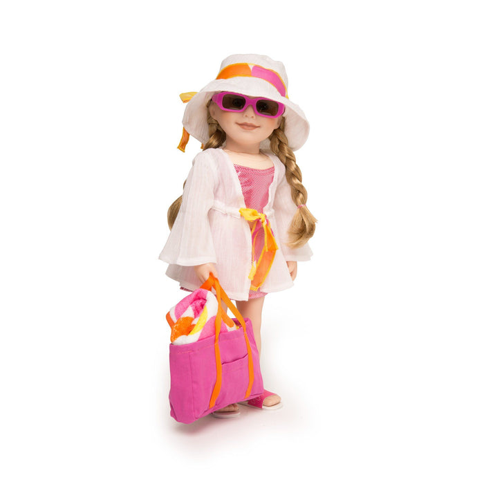 Shoreline Sun white cotton beach cover-up with polka dot tie, white beach hat, pink beach bag, pink sunglasses and yellow orange and pink polka dot towel fits all 18 inch dolls.
