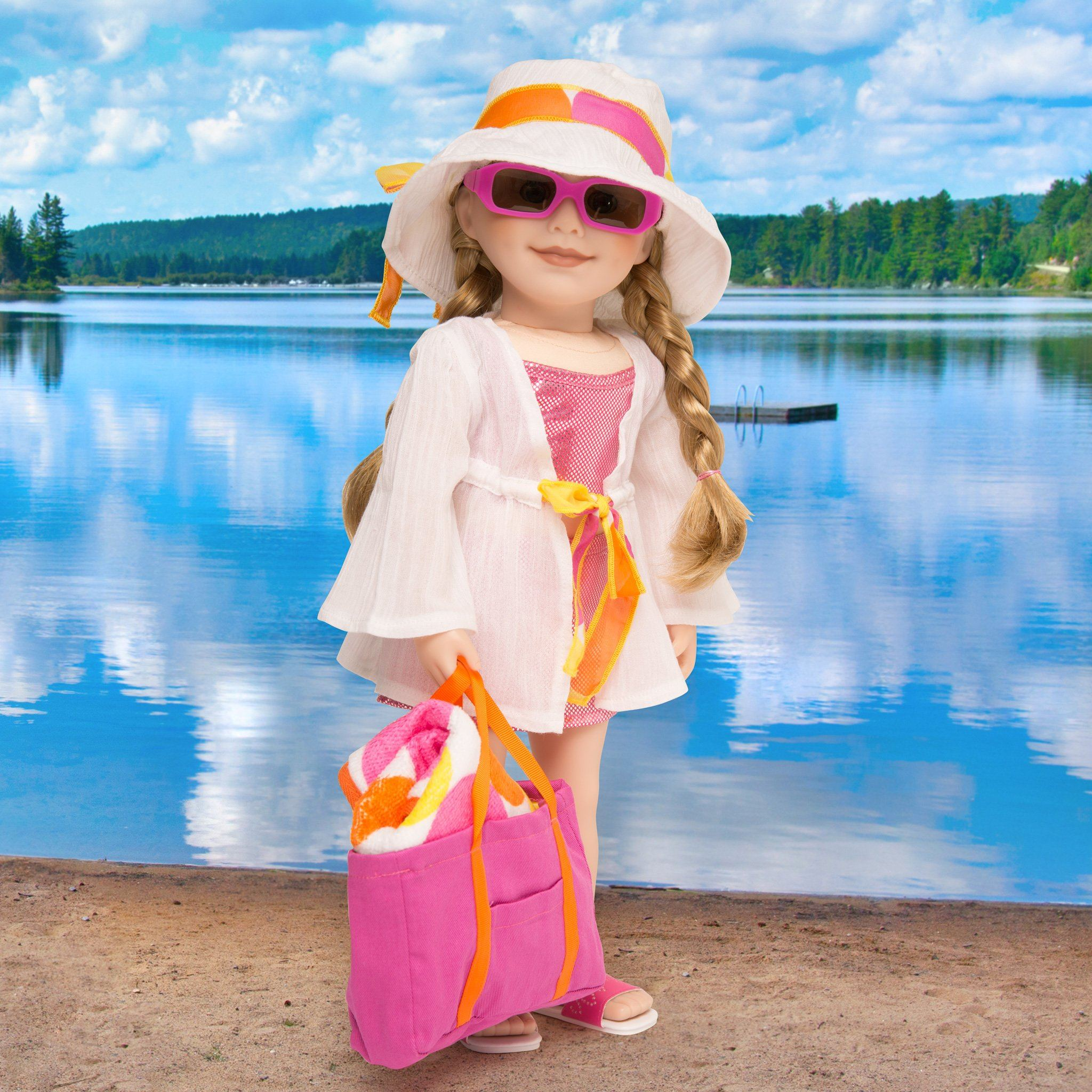 Shoreline Sun white cotton beach cover-up with polka dot tie, white beach hat, pink beach bag, pink sunglasses and polka dot towel fits all 18 inch dolls.