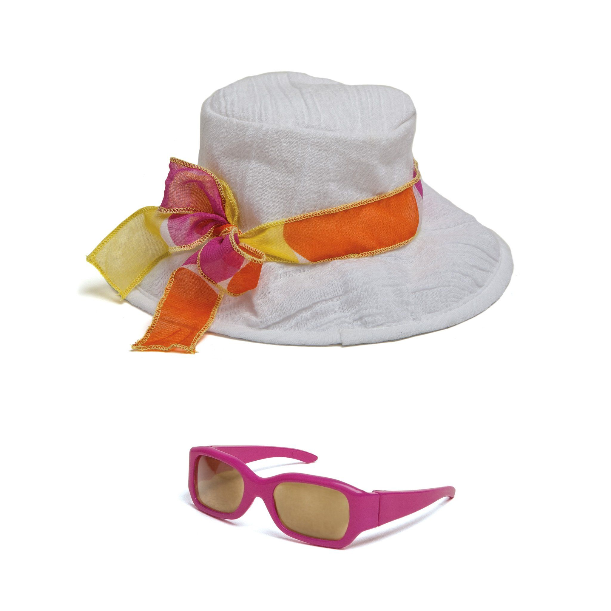 Shoreline Sun white beach hat with colourful tie and pink sunglasses fits all 18 inch dolls.