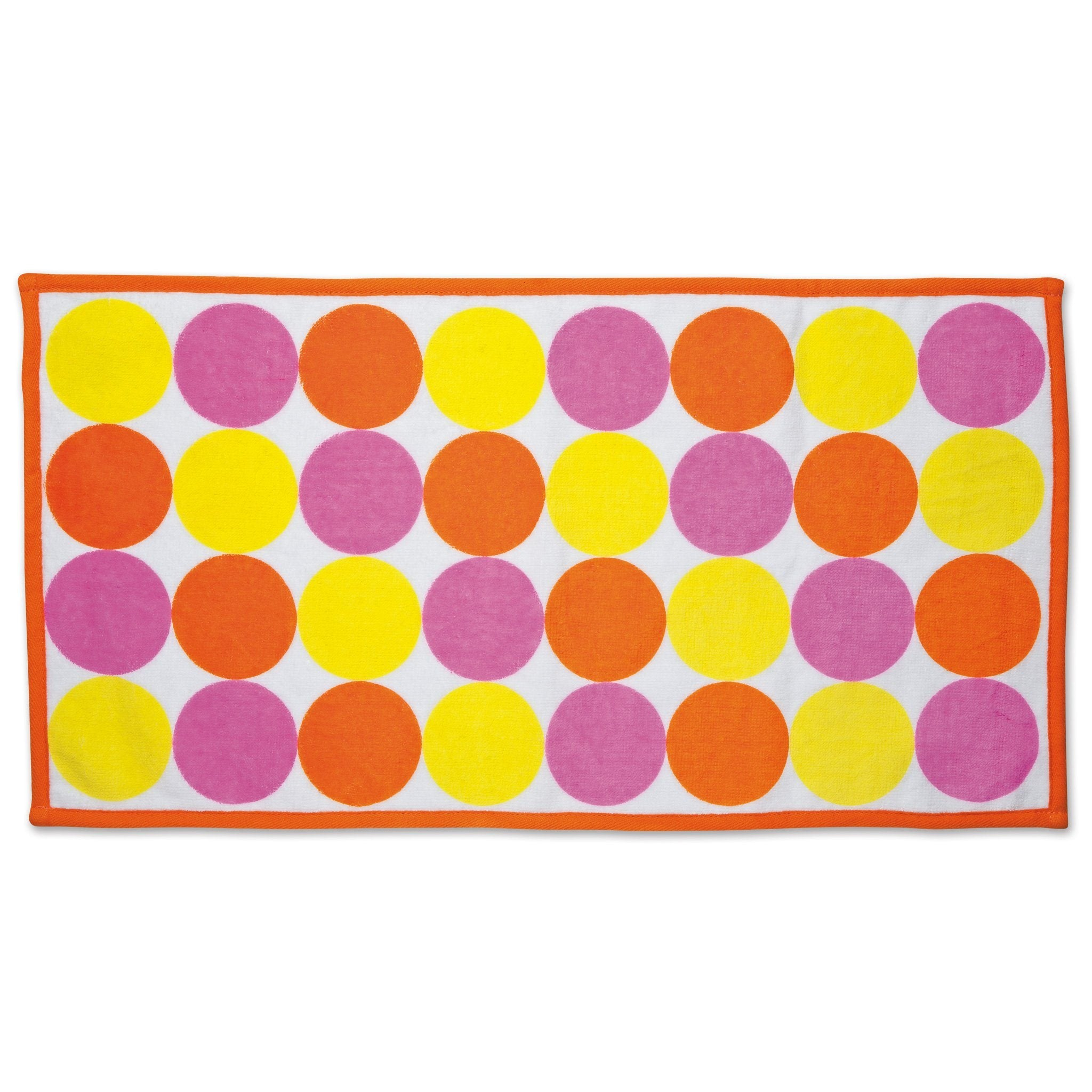 Shoreline Sun yellow, orange and pink polka dot towel fits all 18 inch dolls.