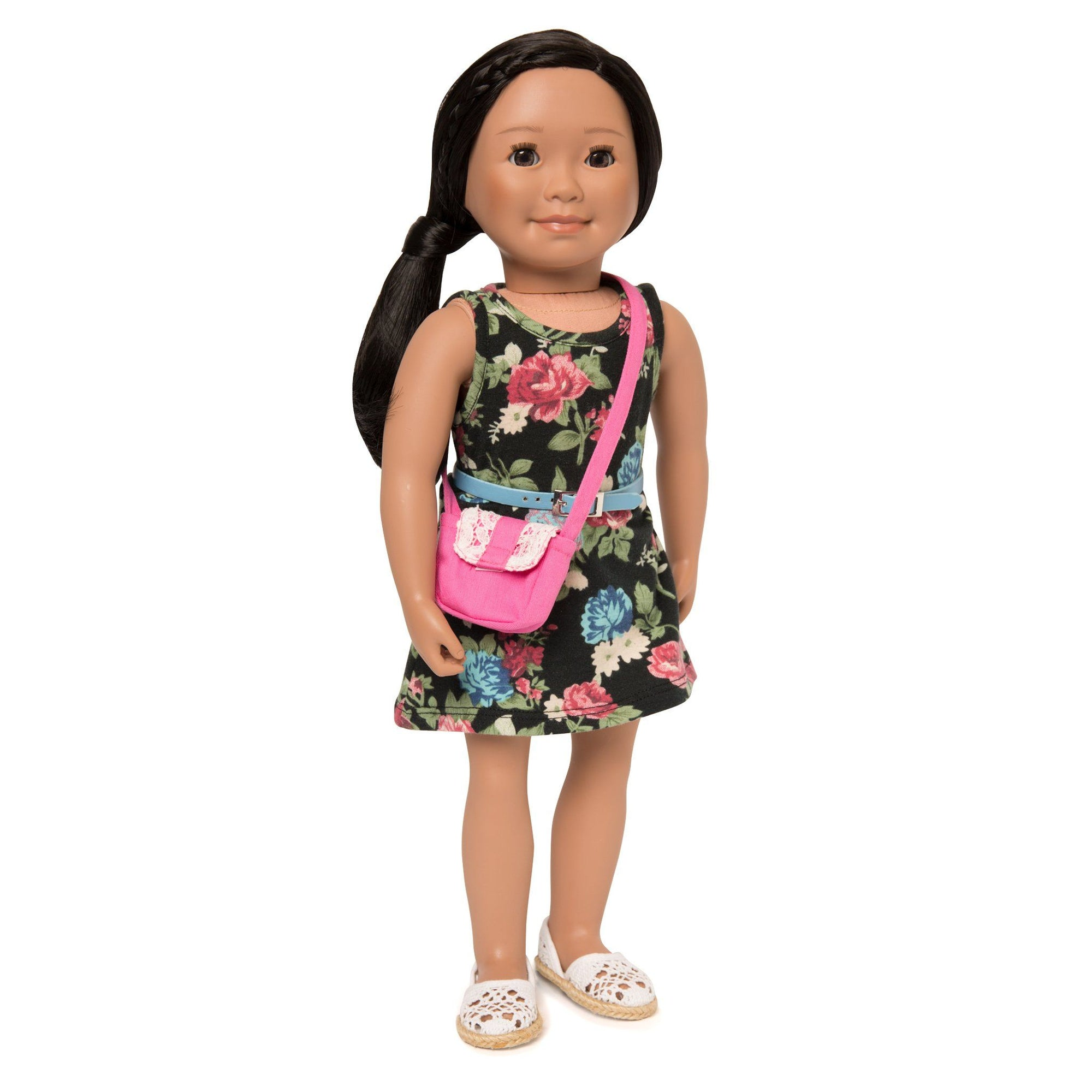 Signs of Spring black floral dress with pink lace accent purse, blue belt, white lace shoes fits all 18 inch dolls.