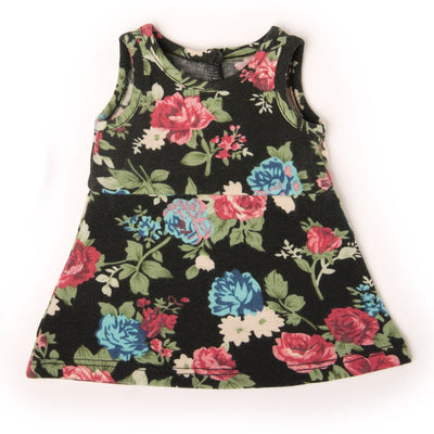 Signs of Spring black floral dress fits all 18 inch dolls.