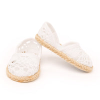 Signs of Spring white lace slip-on shoes fits all 18 inch dolls.
