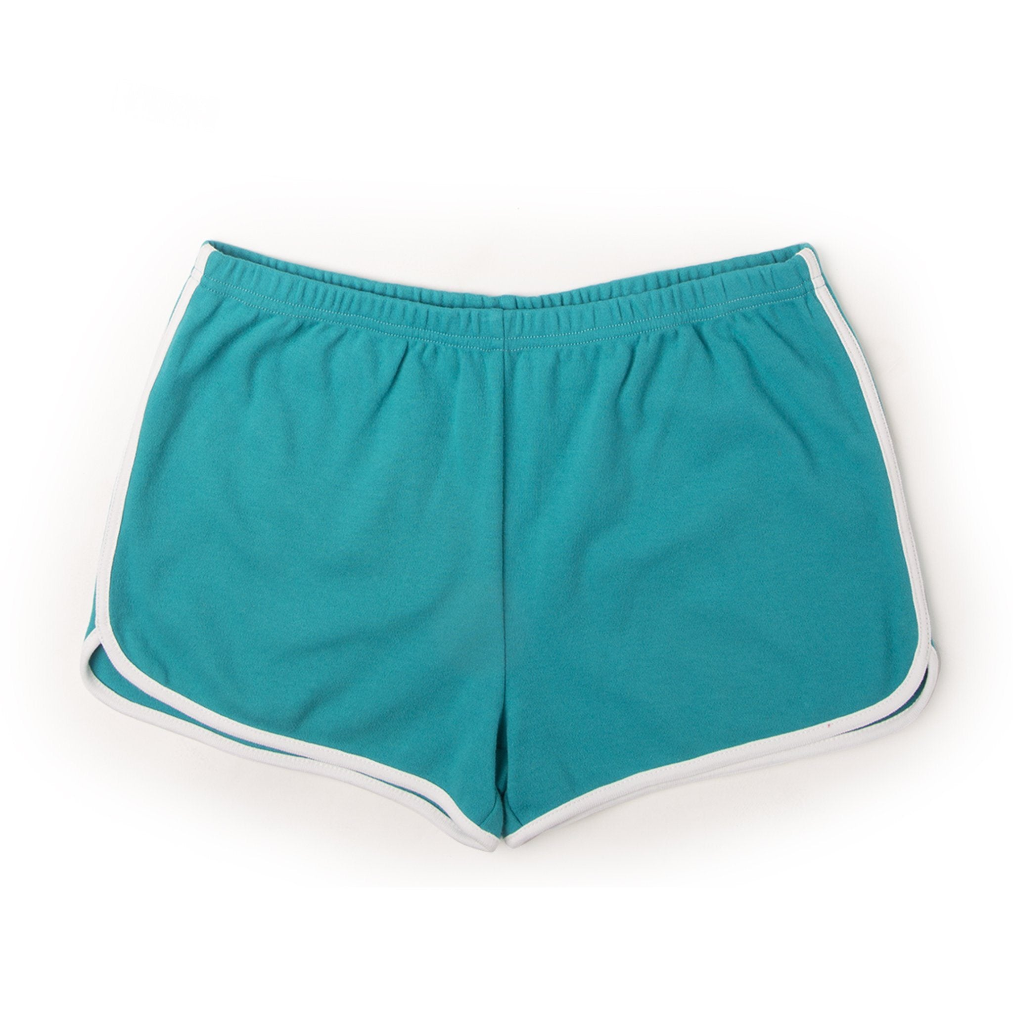 Sleepy Time PJs 2 piece pyjamas teal shorts with white trim in varying sizes for girls.