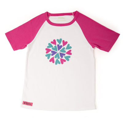 Sleepy Time PJs 2 piece pyjamas white t-shirt with pink, purple and teal heart graphic in varying sizes for girls.