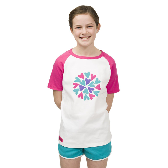 Sleepy Time PJs 2 piece pyjamas white t-shirt with pink, purple and teal heart graphic, teal shorts with white trim in varying sizes for girls.