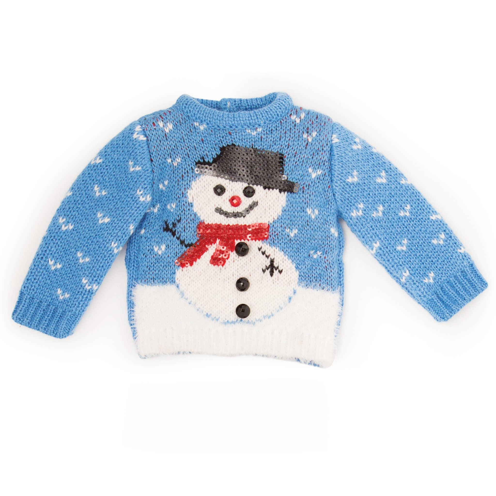 Snow Cute knit fuzzy blue sweater sequin and bead details on a snowman fits all 18 inch dolls.
