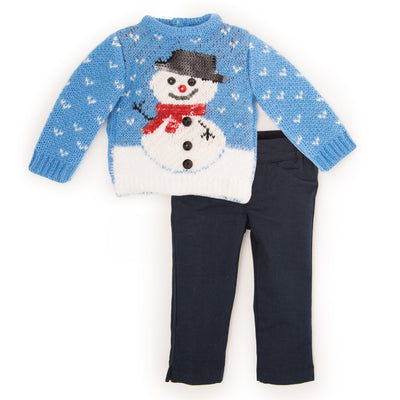 Snow Cute knit fuzzy blue sweater with snowman and navy slim-fit pants fits all 18 inch dolls.