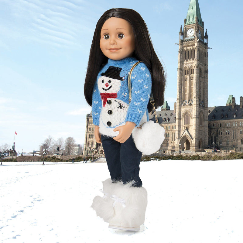 Snow Cute knit fuzzy blue Christmas sweater with snowman and navy pants fits all 18 inch dolls.