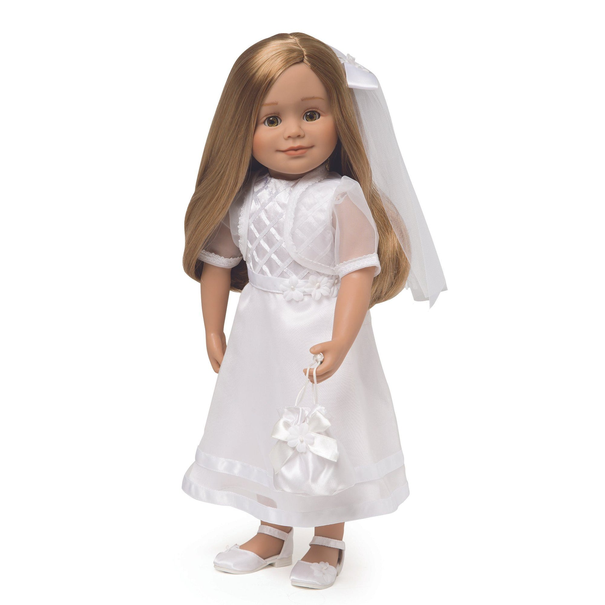 Special Occasion white organza dress, hair barrette with detachable veil, bolero jacket, socks, undies and satin drawstring purse fits all 18 inch dolls.