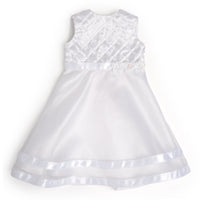 Special Occasion white fancy organza dress fits all 18 inch dolls.