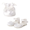 Special Occasion white fancy shoes and satin drawstring purse fits all 18 inch dolls.