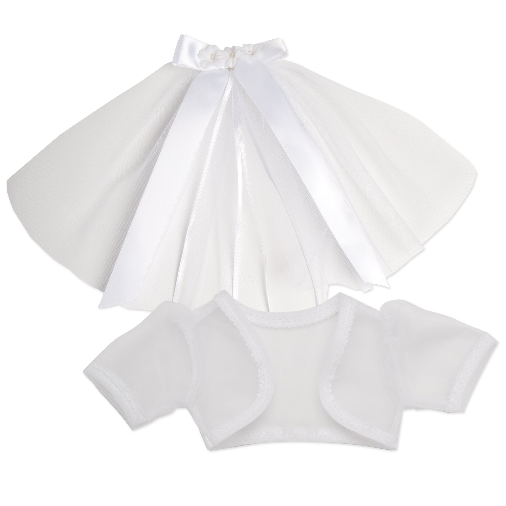 Special Occasion white hair barrette with detachable veil and bolero jacket fits all 18 inch dolls.