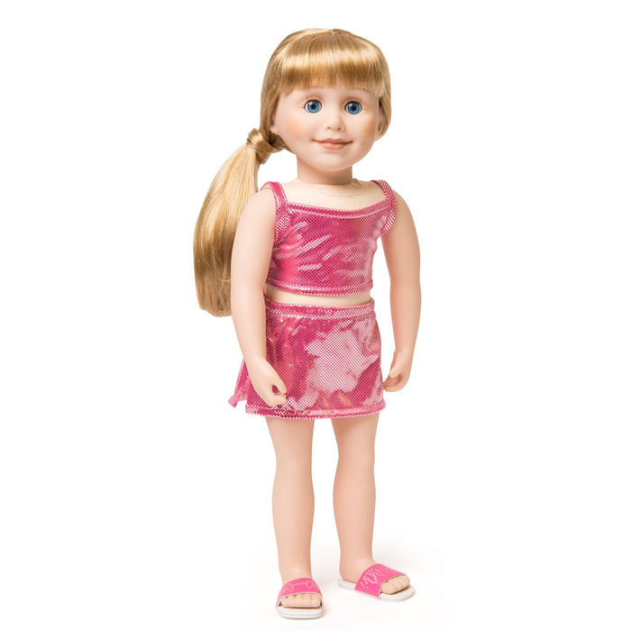 Splish Splash Sparkle pink sparkly two-piece bathing suit tank top, skirt and pink slip-on sandals fits all 18 inch dolls.