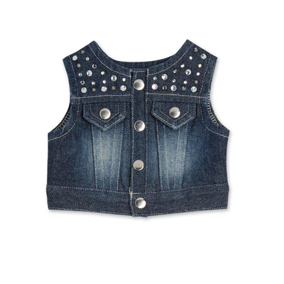 Stampede Style \denim studded vest fits all 18 inch dolls.