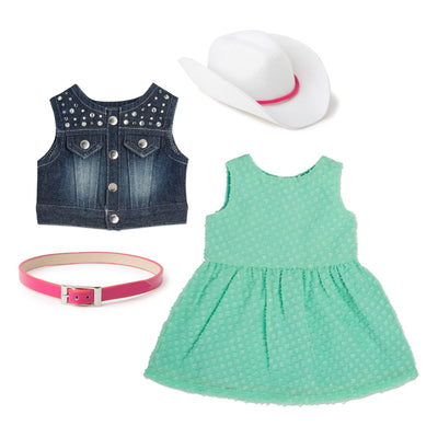 Stampede Style mint green sundress, denim studded vest, pink shiny belt, white cowboy hat with pink trim fits all 18 inch dolls.