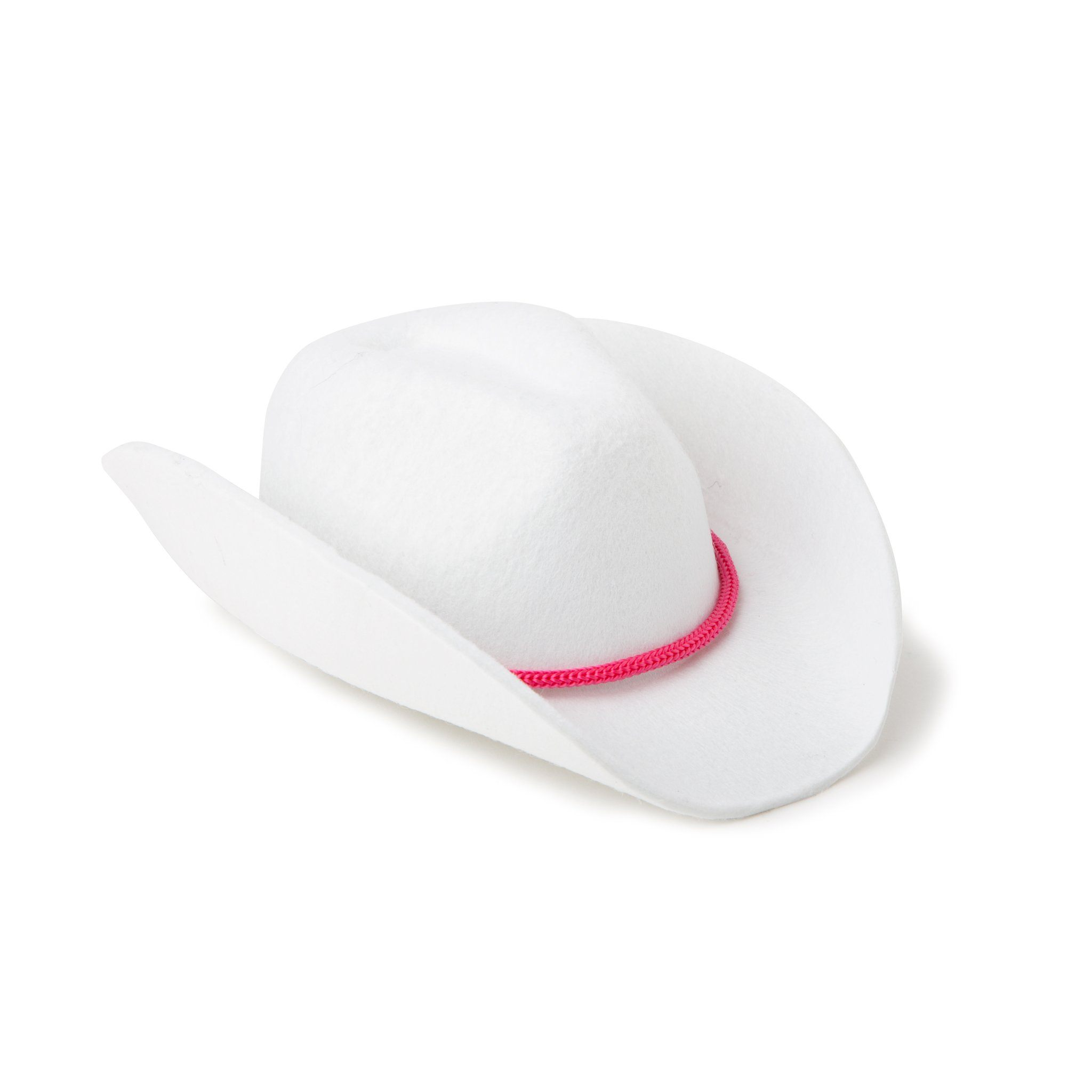 Stampede Style white cowboy hat with pink trim fits all 18 inch dolls.