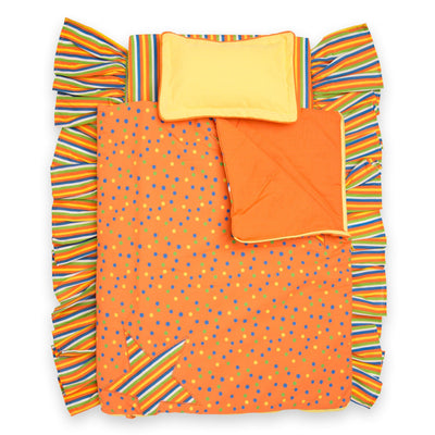 Starlight Starbright bedding, orange comforter with multi-colour polka-dots and striped star decal also turns into a sleeping bag.  Yellow pillow and multi-colour striped mattress with ruffle fits KM1 doll bed. For all 18 inch dolls.