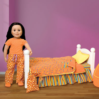 Starlight Starbright bedding, orange comforter with multi-colour polka-dots and striped star decal also turns into a sleeping bag.  Yellow pillow and multi-colour striped mattress with ruffle fits KM1 doll bed. For all 18 inch dolls. Shown in KA1 alexi's bedroom.