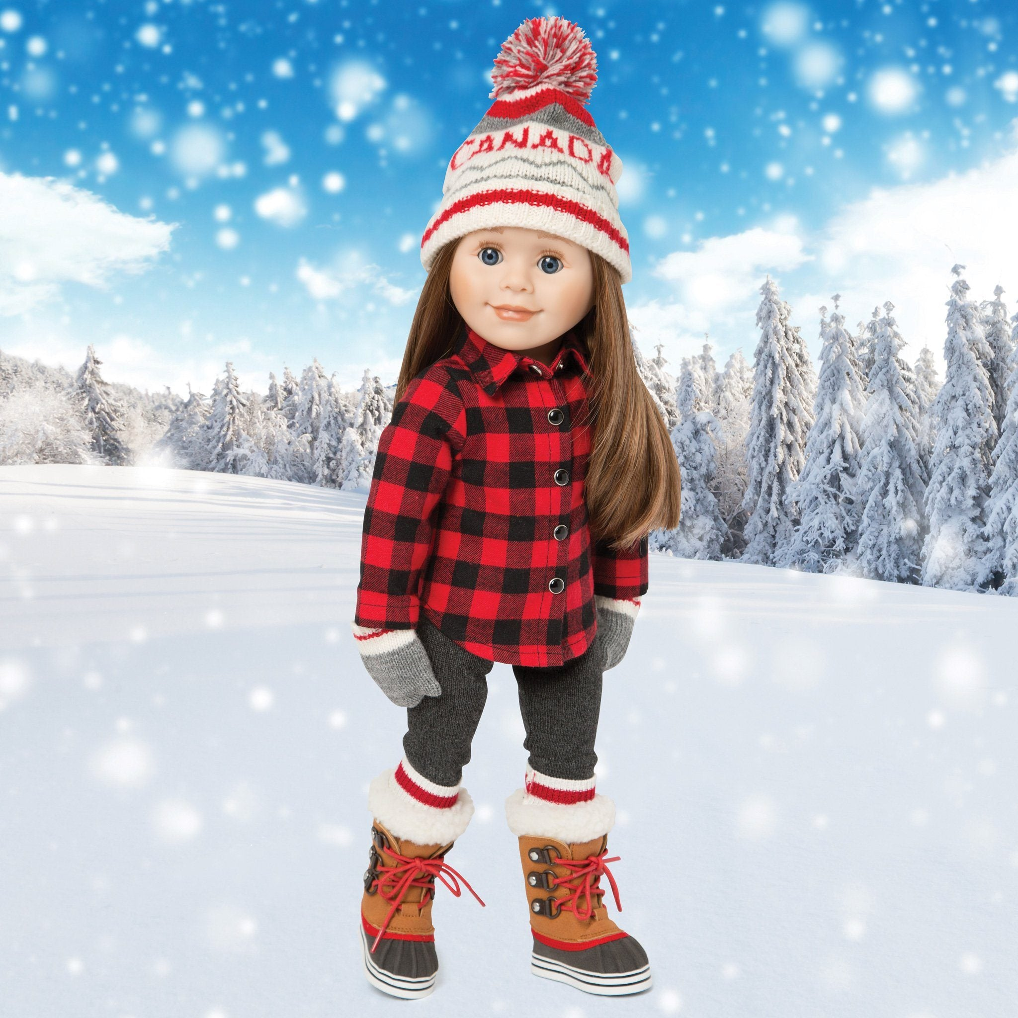 Storm Stompers rugged winter boots with fuzzy lining and red laces. Fits all 18 inch dolls.